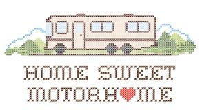 Το σπίτι γλυκό Motorhome, ταξινομεί ένα πρότυπο, κεντητική Στοκ Εικόνες