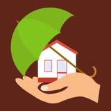 Το σπίτι είναι κάτω από την προστασία, το σπίτι στο φοίνικα κάτω από την ομπρέλα Στοκ φωτογραφία με δικαίωμα ελεύθερης χρήσης