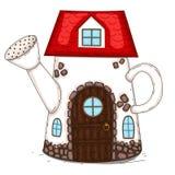Το σπίτι είναι σε ένα πότισμα μπορεί Στοκ φωτογραφία με δικαίωμα ελεύθερης χρήσης