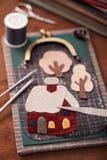 Το σπίτι είναι applique λεπτομέρεια και applique εργαλεία για το ύφασμα Στοκ Φωτογραφίες