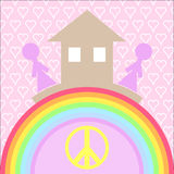Το σπίτι και αγαπά τη βάση της ευτυχίας Στοκ φωτογραφία με δικαίωμα ελεύθερης χρήσης