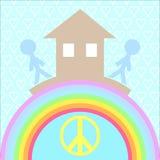 Το σπίτι και αγαπά τη βάση της ευτυχίας Στοκ Εικόνα