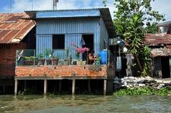 Το σπίτι καλυβών μπορεί μέσα Tho, Mekong δέλτα, Βιετνάμ Στοκ Εικόνες