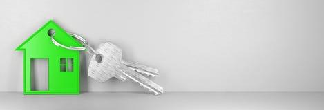Το σπίτι κλειδιών, νέο σπίτι, τρισδιάστατο δίνει την απεικόνιση Στοκ Εικόνα