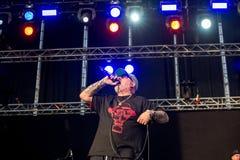 Το σπίτι της αμερικανικής ομάδας χιπ χοπ πόνου αποδίδει στη συναυλία Download στο φεστιβάλ μουσικής βαρύ μετάλλου στοκ εικόνες με δικαίωμα ελεύθερης χρήσης
