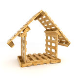 Το σπίτι χτίζει με τις ξύλινες παλέτες Στοκ Φωτογραφίες