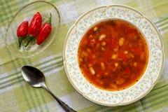 Το σπιτικό εύγευστο παραδοσιακό βουλγαρικό chorba βαριδιών σούπας φασολιών εξυπηρέτησε με τα κόκκινα πιπέρια τσίλι Στοκ εικόνες με δικαίωμα ελεύθερης χρήσης