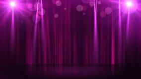 Το στάδιο με το φωτισμό σημείων, κενή σκηνή για παρουσιάζει, τελετή βραβεύσεωης ή διαφήμιση στο σκοτεινό πορφυρό υπόβαθρο περιτυλ απεικόνιση αποθεμάτων