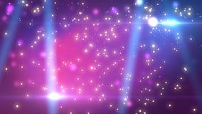 Το στάδιο με το φωτισμό σημείων, κενή σκηνή disco για παρουσιάζει, τελετή βραβεύσεωης ή διαφήμιση στο σκοτεινό πορφυρό υπόβαθρο