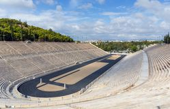 Το στάδιο Panathenaic, αυτό φιλοξένησε τους πρώτους σύγχρονους Ολυμπιακούς Αγώνες το 1896, Αθήνα, Ελλάδα Στοκ εικόνα με δικαίωμα ελεύθερης χρήσης