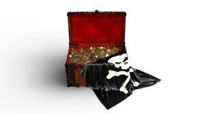 Το στήθος θησαυρών πειρατών με τα χρυσές νομίσματα και τη σημαία κρανίων πειρατών που απομονώνεται στο άσπρο υπόβαθρο, μπροστινή  ελεύθερη απεικόνιση δικαιώματος
