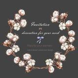 Το στεφάνι, πλαίσιο κύκλων με τα λουλούδια βαμβακιού διακλαδίζεται, χέρι που επισύρεται την προσοχή σε ένα σκοτεινό υπόβαθρο ελεύθερη απεικόνιση δικαιώματος