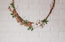 Το στεφάνι του ξηρού βαμβακιού λουλουδιών διακόσμησε το άσπρο υπόβαθρο στοκ εικόνες