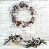 Το στεφάνι Χριστουγέννων Στοκ Φωτογραφίες