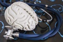 Το στηθοσκόπιο και ο ανθρώπινος εγκέφαλος είπαν ψέματα στις καταγραμμένες έρευνες των ακτίνων X ταινιών για την υπολογισμένη τομο Στοκ Φωτογραφίες