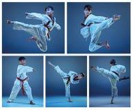 Το στούντιο που πυροβολείται των παιδιών που εκπαιδεύουν karate τις πολεμικές τέχνες στοκ εικόνες