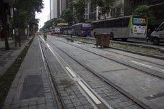 Το στο κέντρο της πόλης Ρίο δεν δημιουργεί καμία μηχανοποιημένη λεωφόρο οχημάτων Στοκ Φωτογραφίες