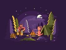 Το στρατόπεδο είναι κοντά σε μια πυρκαγιά ελεύθερη απεικόνιση δικαιώματος