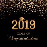 Το συγχαρητήρια έμβλημα ή η αφίσα της κατηγορίας βαθμολόγησης ενός πανεπιστημίου, σχολείο, κολλέγιο το 2019 με τα χρυσά αστέρια κ απεικόνιση αποθεμάτων