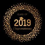 Το συγχαρητήρια έμβλημα ή η αφίσα της κατηγορίας βαθμολόγησης ενός πανεπιστημίου, σχολείο, κολλέγιο το 2019 με τα χρυσά αστέρια κ διανυσματική απεικόνιση