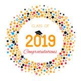 Το συγχαρητήρια έμβλημα ή η αφίσα της κατηγορίας βαθμολόγησης ενός πανεπιστημίου, σχολείο, κολλέγιο το 2019 με τα χρυσά αστέρια κ ελεύθερη απεικόνιση δικαιώματος