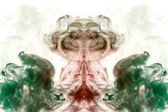 Το συμμετρικό σχέδιο του σκούρο πράσινο και burgundy κόκκινου χρώματος σε ένα λευκό απομόνωσε το υπόβαθρο υπό μορφή μυστικού ζώου ελεύθερη απεικόνιση δικαιώματος