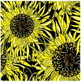Το συρμένο διανυσματικό μαύρο και χέρι κίτρινο mandala σχεδίων Seamles, doodle ορίζει το στοιχείο σχεδίου Στοκ εικόνες με δικαίωμα ελεύθερης χρήσης