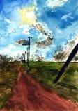 Το συρμένο χέρι σκίτσο watercolor ενός αγροτικού τοπίου, της ημέρας ήλιων πέρα από τον τομέα και του δρόμου απεικόνιση αποθεμάτων