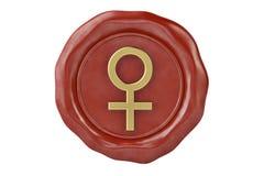 Το σφραγίζοντας κερί με το σύμβολο του θηλυκού γένους τρισδιάστατο illustra Στοκ φωτογραφία με δικαίωμα ελεύθερης χρήσης