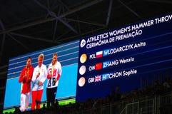 Το σφυρί των γυναικών αθλητισμού ρίχνει σε Rio2016 Στοκ Φωτογραφίες