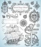 Το σχέδιο έθεσε με τα παλαιά ναυτικά στοιχεία, το πλέοντας σκάφος, την άγκυρα, τα πλαίσια και τα σύνορα ελεύθερη απεικόνιση δικαιώματος