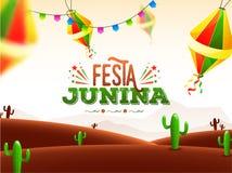 Το σχέδιο αφισών εορτασμού Junina Festa διακόσμησε με τα φανάρια και τον κάκ απεικόνιση αποθεμάτων