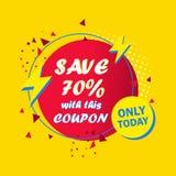 Το σχέδιο δελτίων πώλησης σώζει μέχρι 70 percents μακριά διανυσματική απεικόνιση