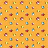 Το σχέδιο εικονοκυττάρου με το μανιτάρι και το πορτοκαλί υπόβαθρο Στοκ Εικόνες