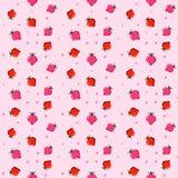 Το σχέδιο εικονοκυττάρου με τη φράουλα και το ρόδινο υπόβαθρο Στοκ φωτογραφία με δικαίωμα ελεύθερης χρήσης