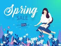 Το σχέδιο εμβλημάτων ή αφισών πώλησης άνοιξη με την έκπτωση 60% προσφέρει και όμορφο νέο κορίτσι που διαβάζει ένα βιβλίο στο μπλε διανυσματική απεικόνιση