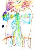 Το σχέδιο ενός νέου καλλιτέχνη ευτυχούς να φάει ένα κορίτσι πηγαίνει στο κρεβάτι, μολύβια και δείκτες στοκ φωτογραφία με δικαίωμα ελεύθερης χρήσης