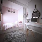 Το σχέδιο κρεβατοκάμαρων για την κόρη, εσωτερική του άνετου σύγχρονου ύφους, τρισδιάστατη απόδοση, τρισδιάστατη απεικόνιση διανυσματική απεικόνιση