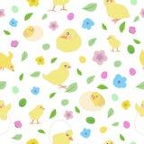 Το σχέδιο με τα μικρά κίτρινα κοτόπουλα σε διαφορετικό θέτει, αυγά Πάσ απεικόνιση αποθεμάτων