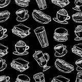 Το σχέδιο του latte, το cappuccino, burger, το χάμπουργκερ, το χοτ ντογκ, frappe, το americano espresso και το americano στο φλυτ ελεύθερη απεικόνιση δικαιώματος