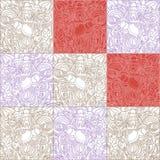 Το σχέδιο των τετραγώνων με άσπρο και το κόκκινο γεμίζουν και περιγράμματα απεικόνιση αποθεμάτων