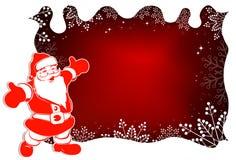 Το σχέδιο Χριστουγέννων με Άγιο Βασίλη, άσπρο σγουρό πλαίσιο, ακτινοβολεί και χαριτωμένα άσπρα snowflakes διανυσματική απεικόνιση
