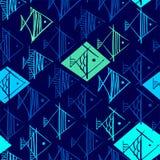 Το σχέδιο ψαριών παραδίδει κοντά τη μορφή rhombuses απεικόνιση αποθεμάτων