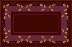 Το σχέδιο burgundy σκιάζει το τραπεζομάντιλο με κεντημένος curlicues και τους κλάδους, με τα πορτοκαλιά λουλούδια και τα καμμμένα απεικόνιση αποθεμάτων