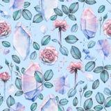 Το σχέδιο Watercolor με τα κρύσταλλα, αυξήθηκε φύλλα και λουλούδια Στοκ Φωτογραφία