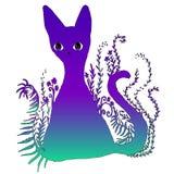 Το σχέδιο είναι μια φωτεινή ζωηρόχρωμη υπερφυσική υπερφυσική γάτα Απεικόνιση αποθεμάτων