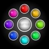 το σχέδιο εύκολο επιμελείται τα στοιχεία στο διάνυσμα Σύνολο συνόλου χρωματισμένων κουμπιών Στοκ φωτογραφία με δικαίωμα ελεύθερης χρήσης