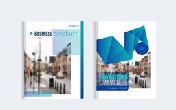 Το σχέδιο κάλυψης επιχειρησιακών φυλλάδιων με η φωτογραφία και οι απλές μορφές Σχέδιο Minimalistic της ετήσια έκθεσης ελεύθερη απεικόνιση δικαιώματος