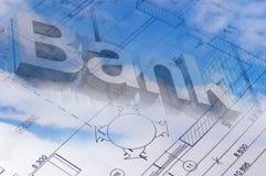 Το σχέδιο ορόφων ενός σχεδιαγράμματος σπιτιών με το σημάδι τραπεζών Στοκ Φωτογραφία