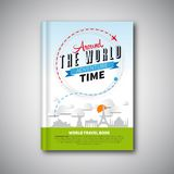 Το σχέδιο προτύπων βιβλίων παγκόσμιου ταξιδιού, μπορεί να χρησιμοποιηθεί για την κάλυψη βιβλίων, Μ Στοκ Εικόνες